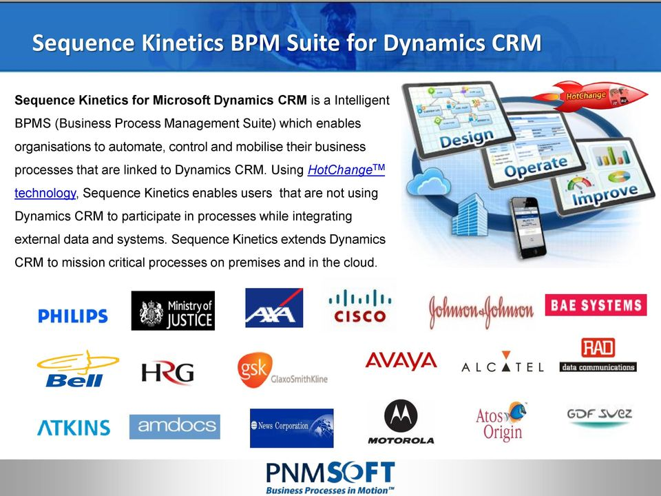 CRM. Using HotChange TM technology, Sequence Kinetics enables users that are not using Dynamics CRM to participate in processes while