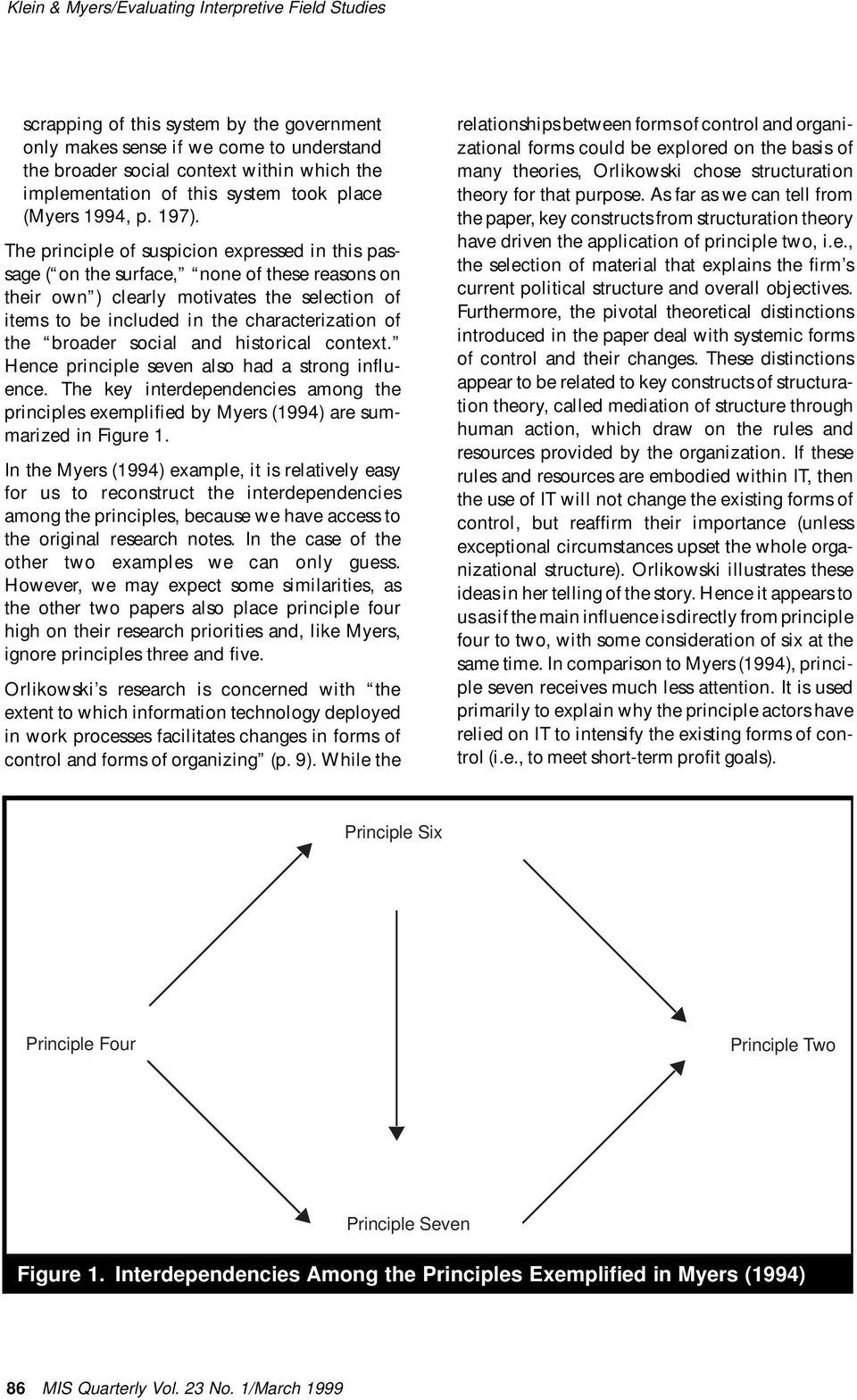 broader social and historical context. Hence principle seven also had a strong influence. The key interdependencies among the principles exemplified by Myers (1994) are summarized in Figure 1.