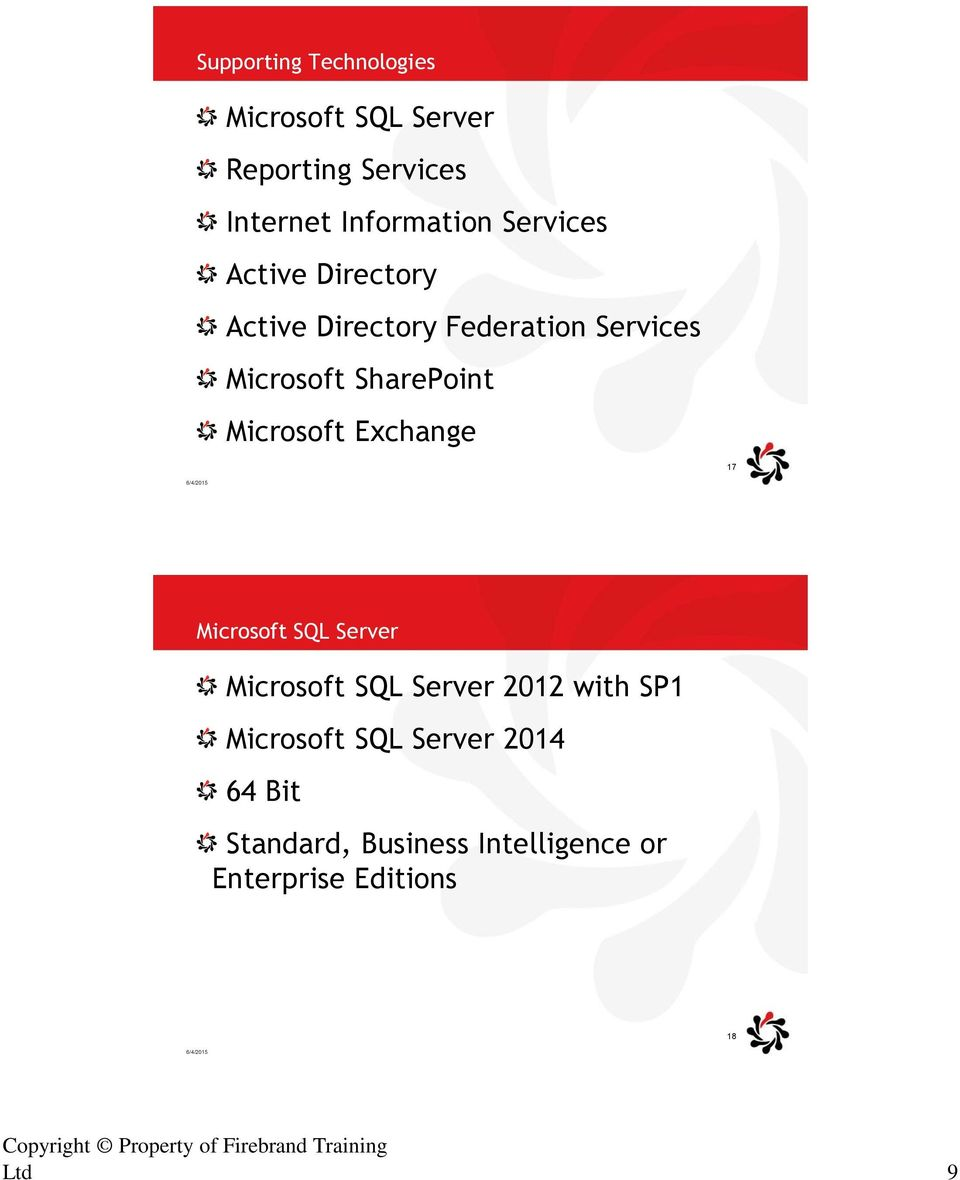 Temple 17 Microsoft SQL Server Microsoft SQL Server 2012 with SP1 Microsoft SQL Server 2014 64 Bit