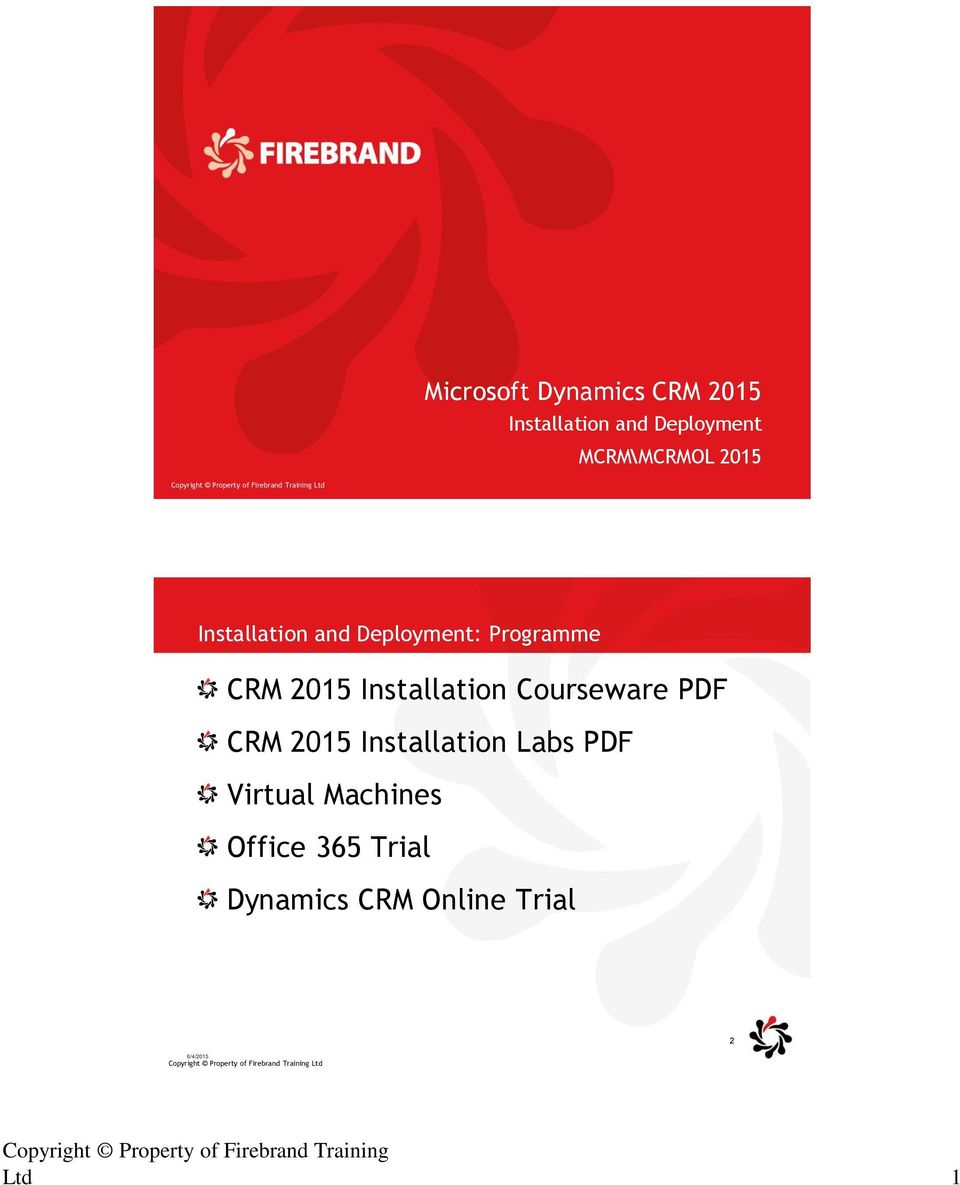 CRM 2015 Installation Labs PDF Virtual Machines Office 365 Trial Dynamics CRM Online Trial