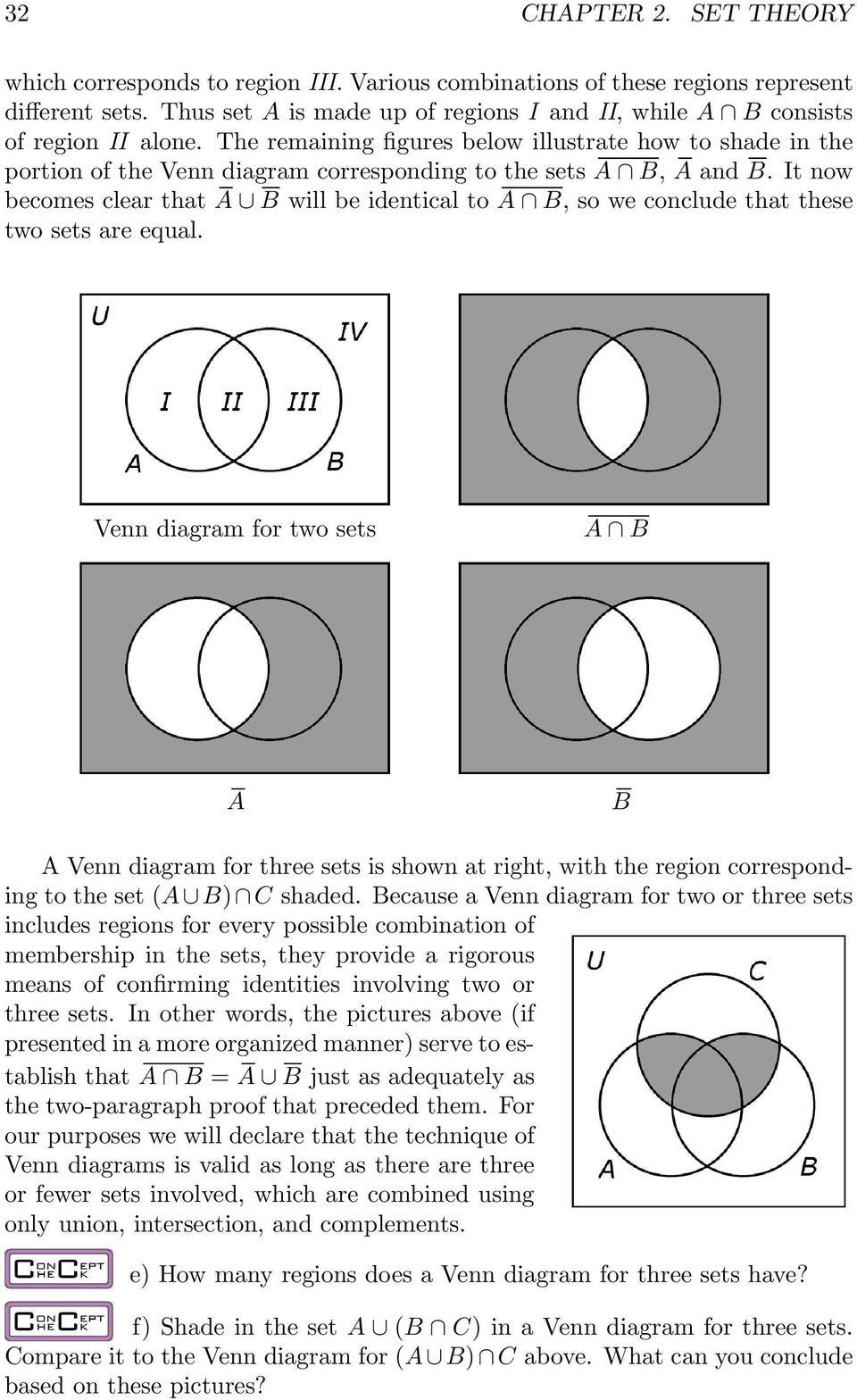 The remaining figures below illustrate how to shade in the portion of the Venn diagram corresponding to the sets A B, A and B.