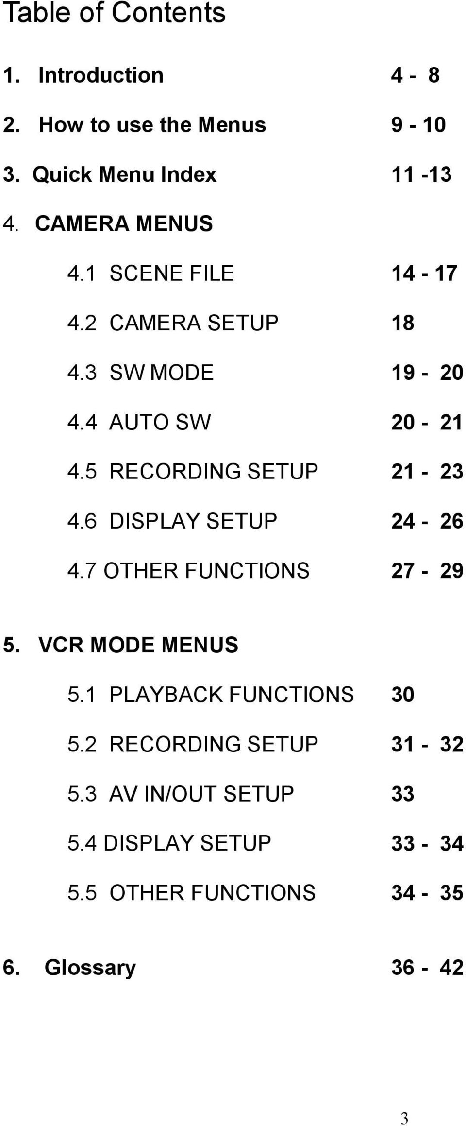 5 RECORDING SETUP 21-23 4.6 DISPLAY SETUP 24-26 4.7 OTHER FUNCTIONS 27-29 5. VCR MODE MENUS 5.