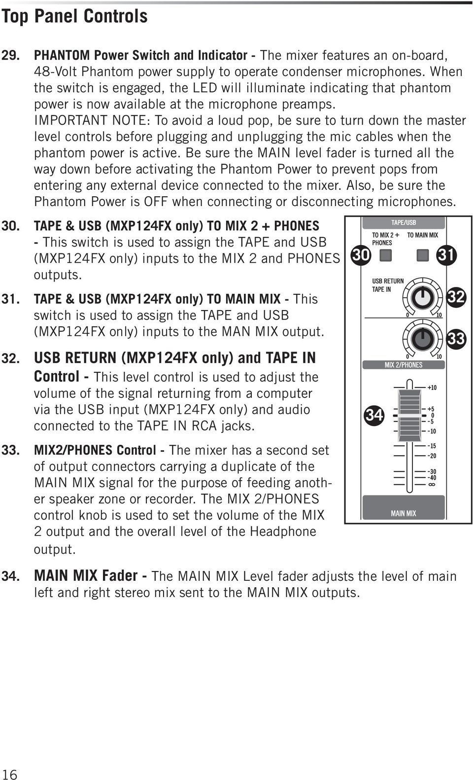 27 IMPORTANT NOTE: To avoid a loud pop, be sure to turn down the master level controls before plugging and unplugging the mic cables when the phantom power is active.