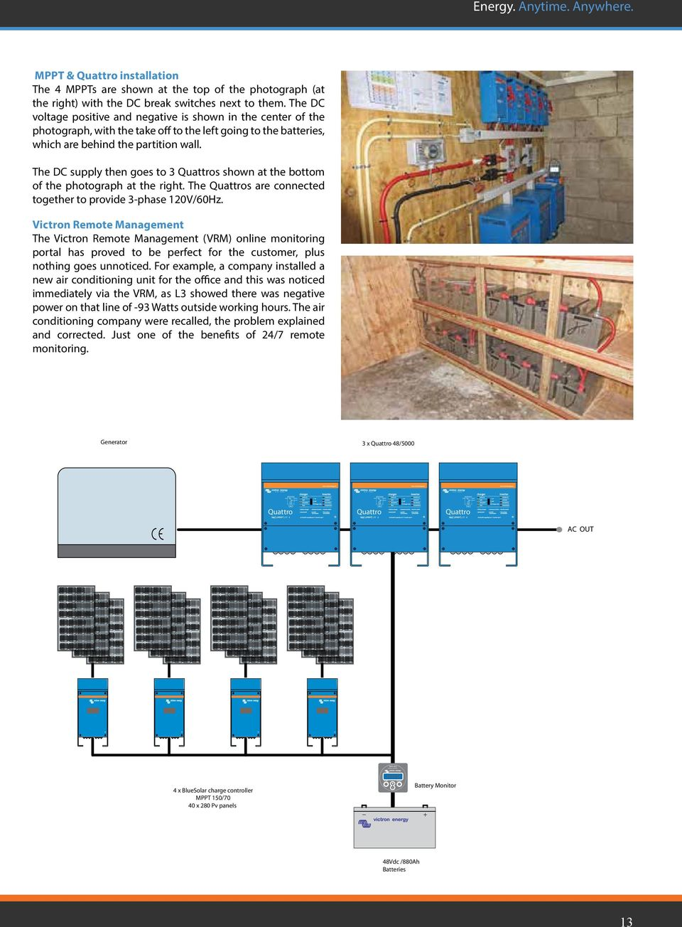 Off Grid Back Up Island Systems Energy Anytime Anywhere Pdf Mppt Controller Wiring Schematic Moreover Solar Charge The Dc Supply Then Goes To 3 Quattros Shown At Bottom Of Photograph