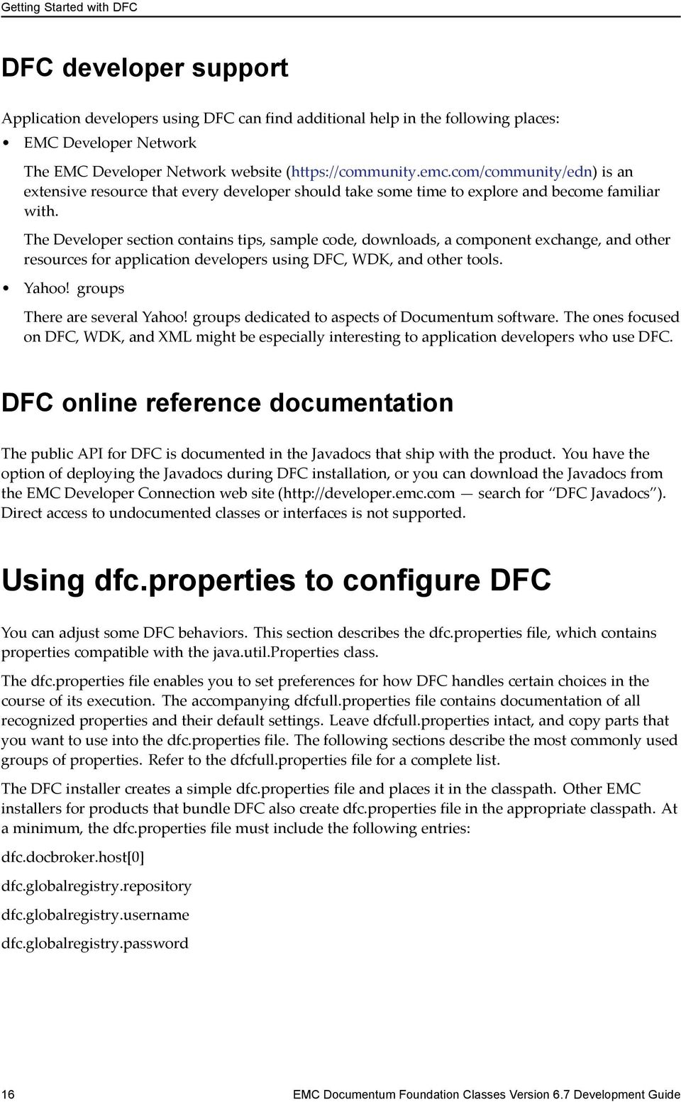 The Developer section contains tips, sample code, downloads, a component exchange, and other resources for application developers using DFC, WDK, and other tools. Yahoo!