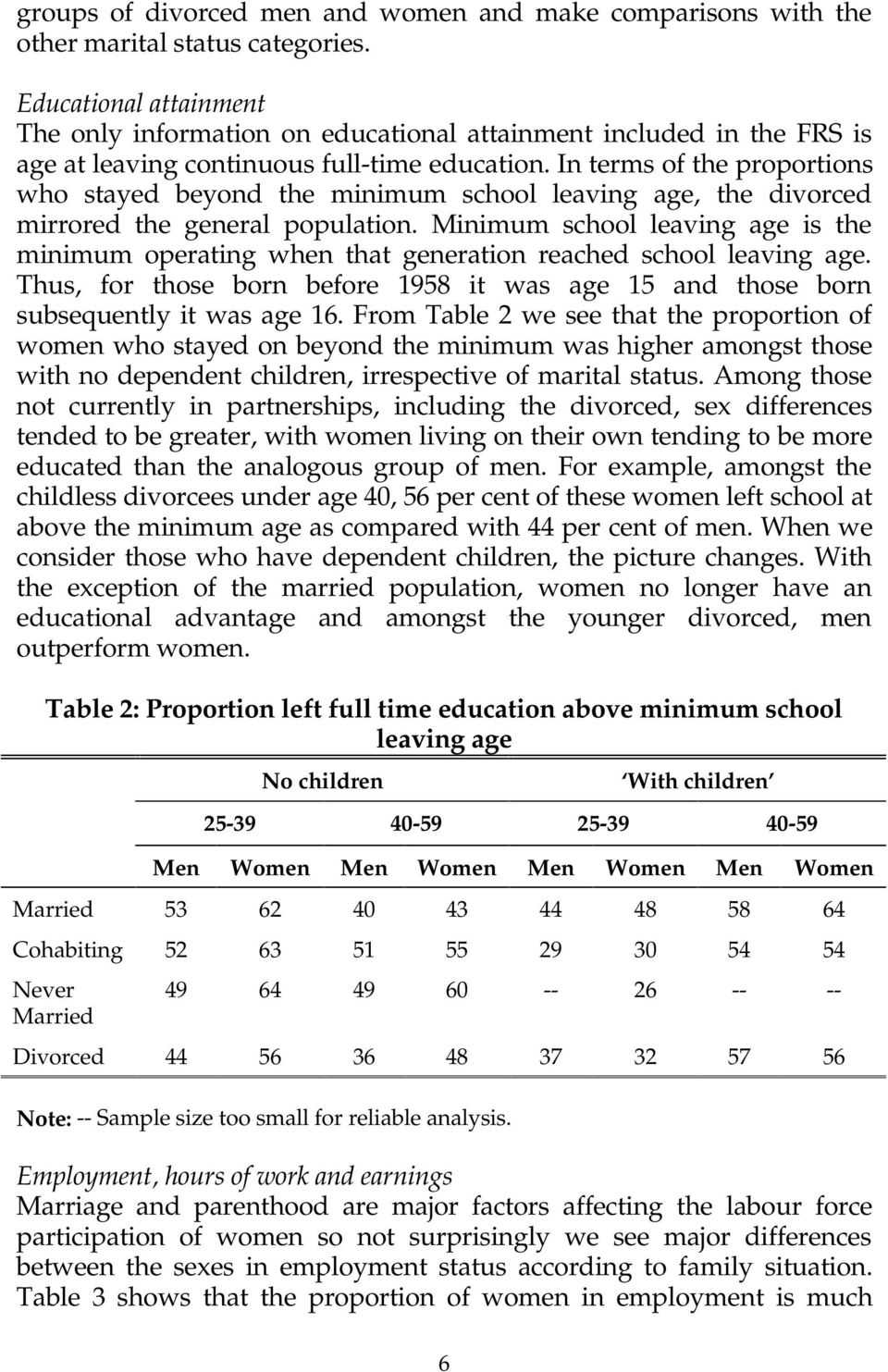 In terms of the proportions who stayed beyond the minimum school leaving age, the divorced mirrored the general population.