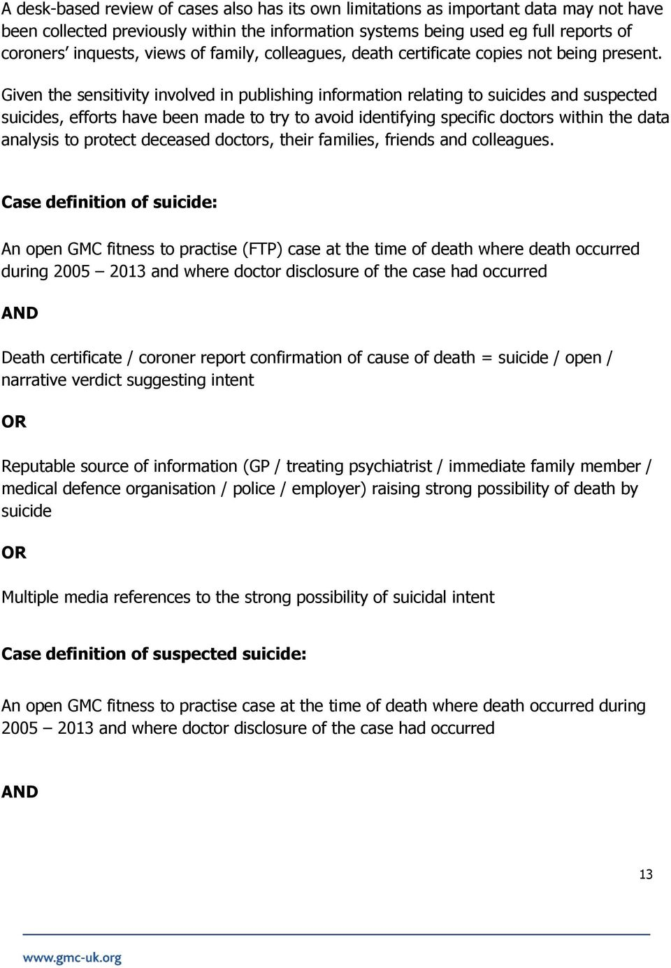 Given the sensitivity involved in publishing information relating to suicides and suspected suicides, efforts have been made to try to avoid identifying specific doctors within the data analysis to
