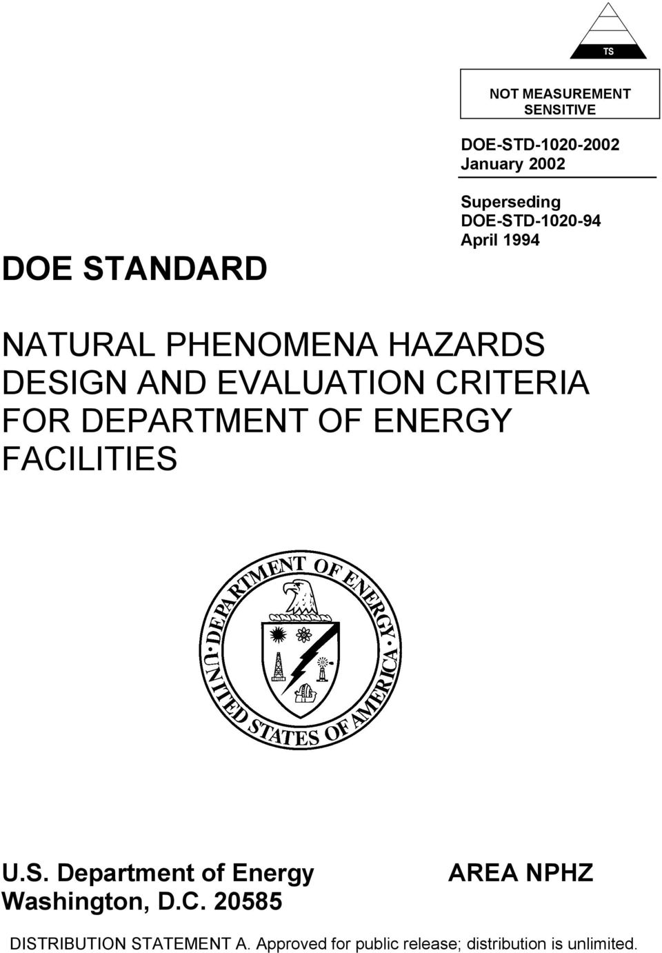FOR DEPARTMENT OF ENERGY FACILITIES U.S. Department of Energy Washington, D.C. 20585 AREA NPHZ DISTRIBUTION STATEMENT A.