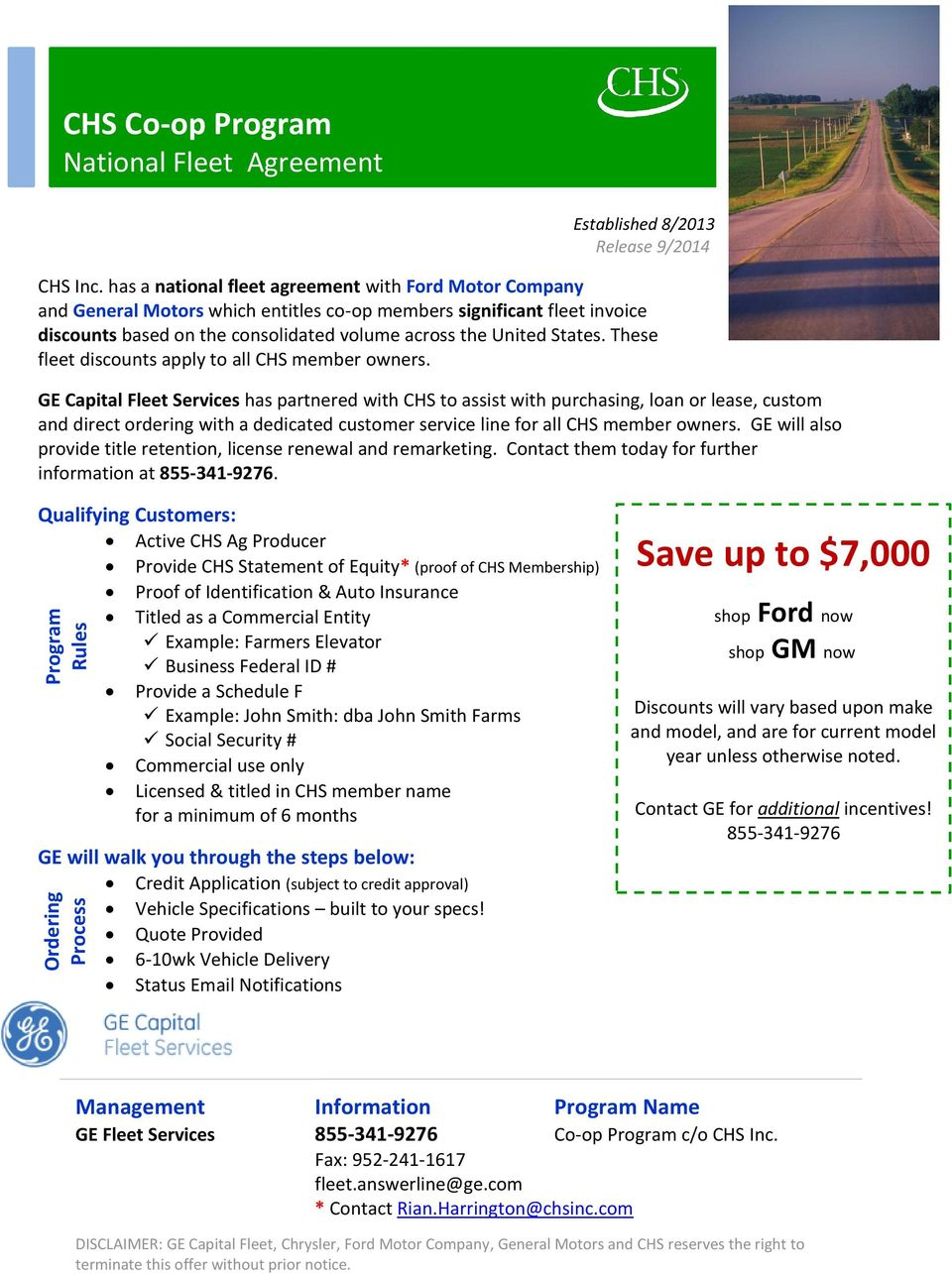 Save Up To 7000 Chs Co Op Program National Fleet Agreement Pdf