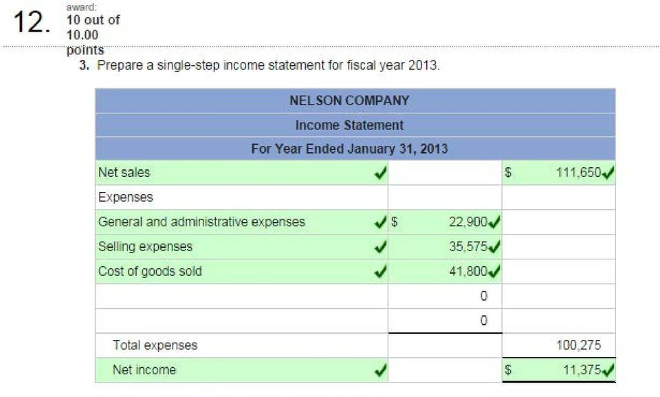 Net sales Expenses NELSON COMPANY Income Statement For Year Ended January 31,