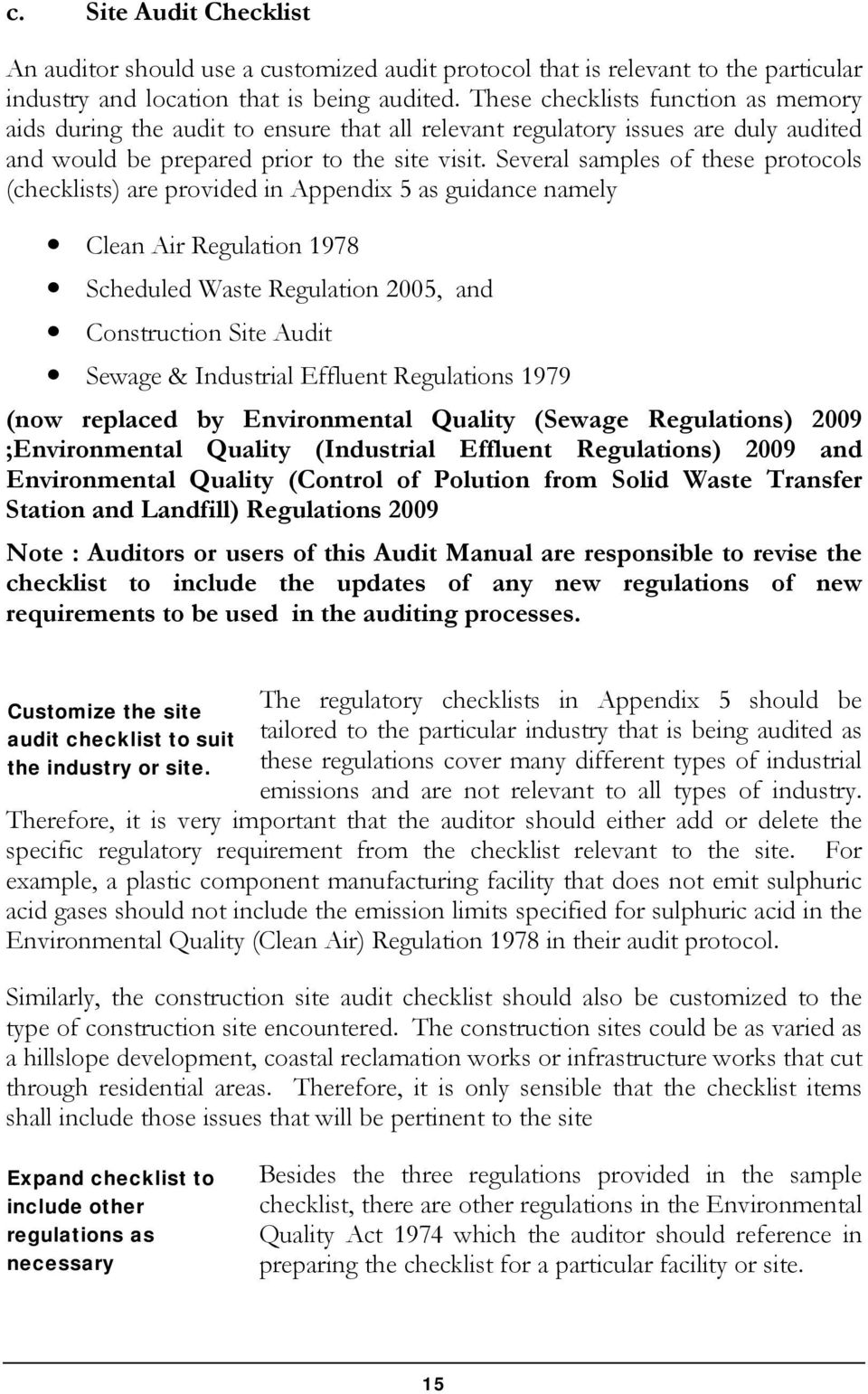 Several samples of these protocols (checklists) are provided in Appendix 5 as guidance namely Clean Air Regulation 1978 Scheduled Waste Regulation 2005, and Construction Site Audit Sewage &