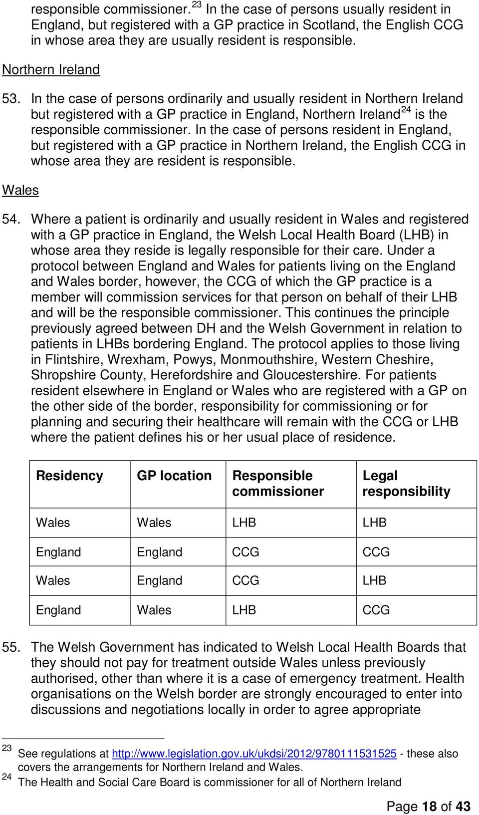 In the case of persons resident in England, but registered with a GP practice in Northern Ireland, the English CCG in whose area they are resident is responsible. Wales 54.
