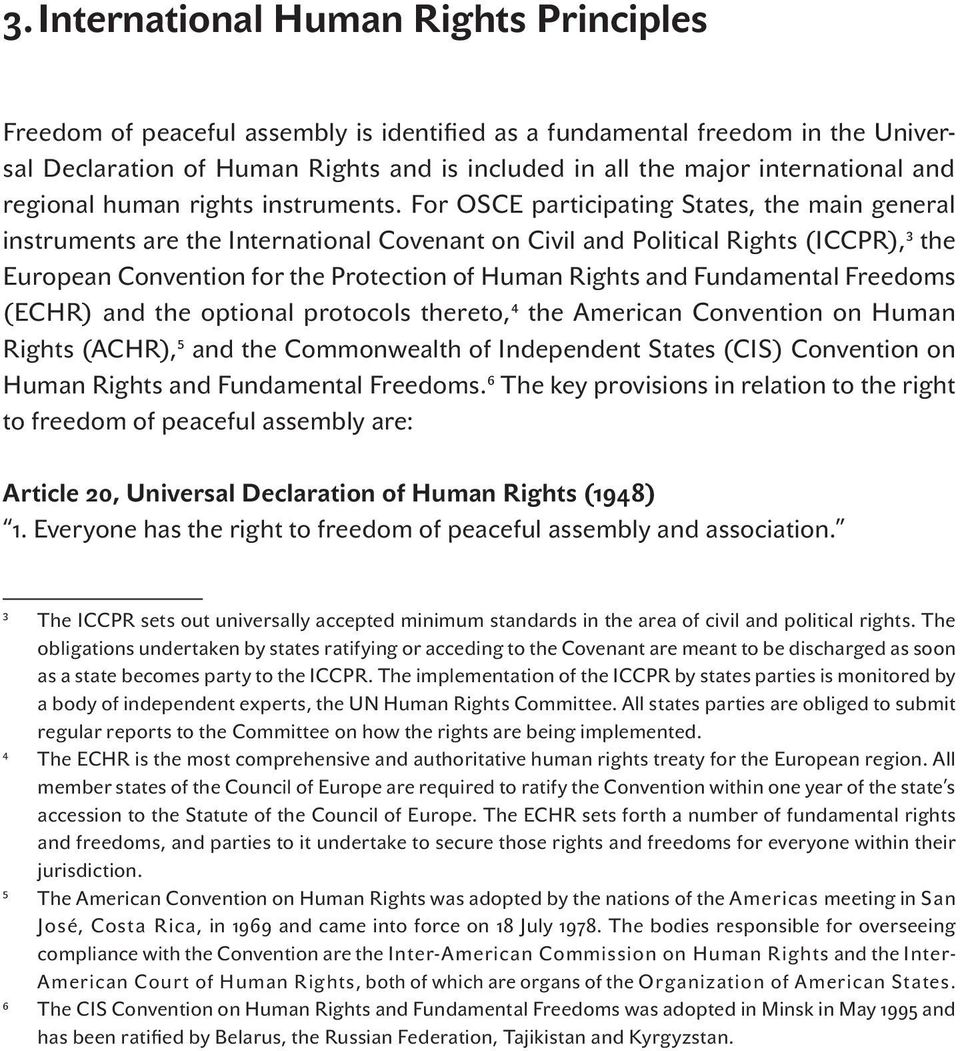For OSCE participating States, the main general instruments are the International Covenant on Civil and Political Rights (ICCPR), 3 the European Convention for the Protection of Human Rights and