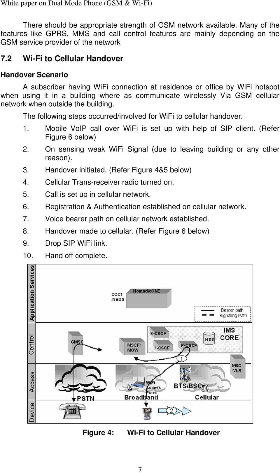 network when outside the building. The following steps occurred/involved for WiFi to cellular handover. 1. Mobile VoIP call over WiFi is set up with help of SIP client. (Refer Figure 6 below) 2.