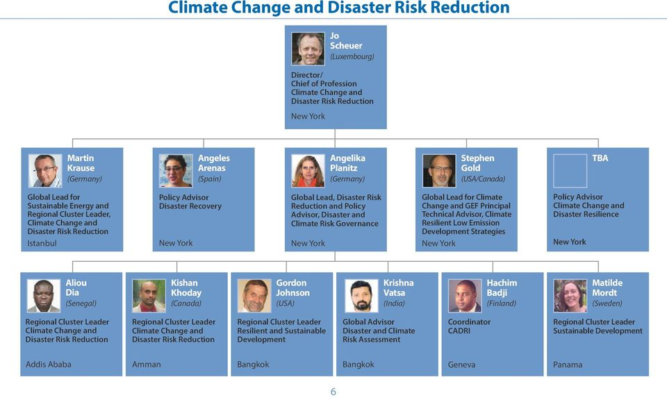 Disaster and Climate Risk Governance Global Lead for Climate Change and GEF Principal Technical Advisor, Climate Resilient Low Emission Development Strategies Policy Advisor Climate Change and