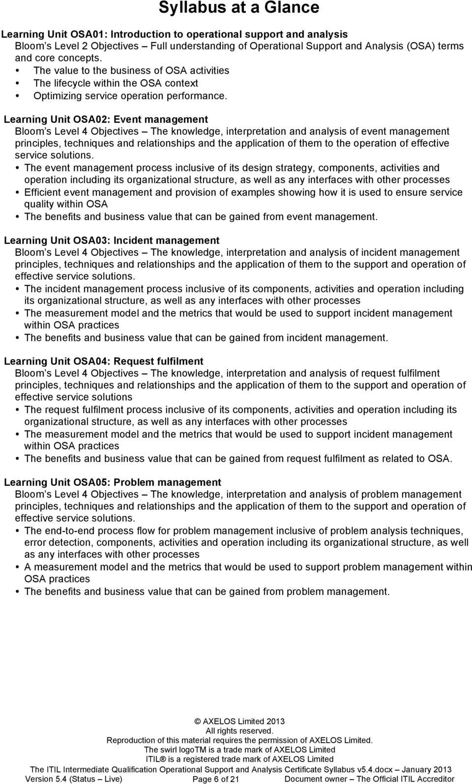 Learning Unit OSA02: Event management Bloom s Level 4 Objectives The knowledge, interpretation and analysis of event management principles, techniques and relationships and the application of them to