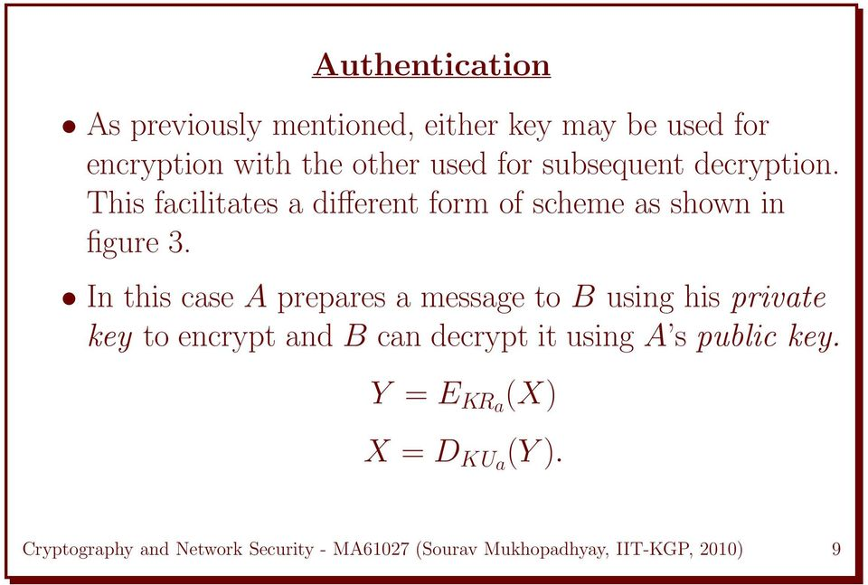 In this case A prepares a message to B using his private key to encrypt and B can decrypt it using A s