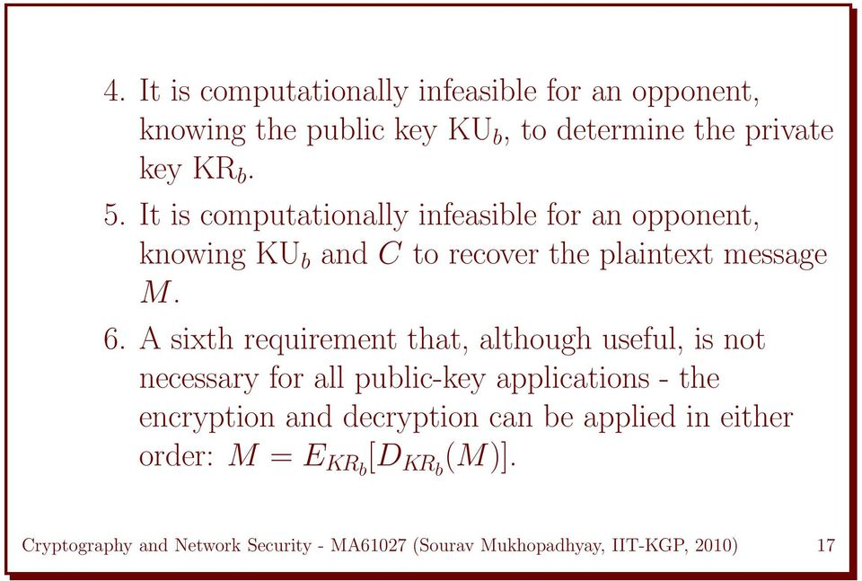 A sixth requirement that, although useful, is not necessary for all public-key applications - the encryption and