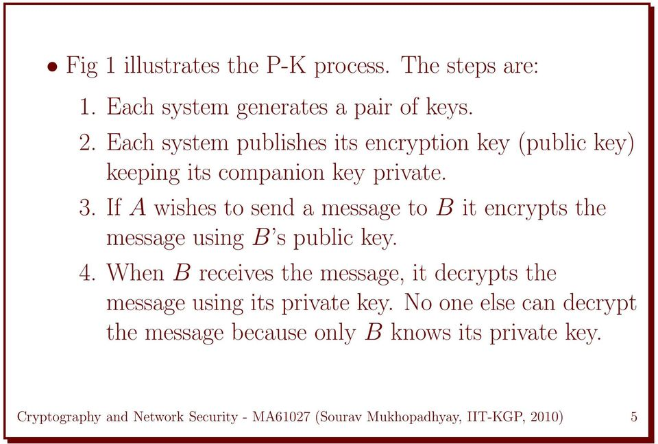 If A wishes to send a message to B it encrypts the message using B s public key. 4.