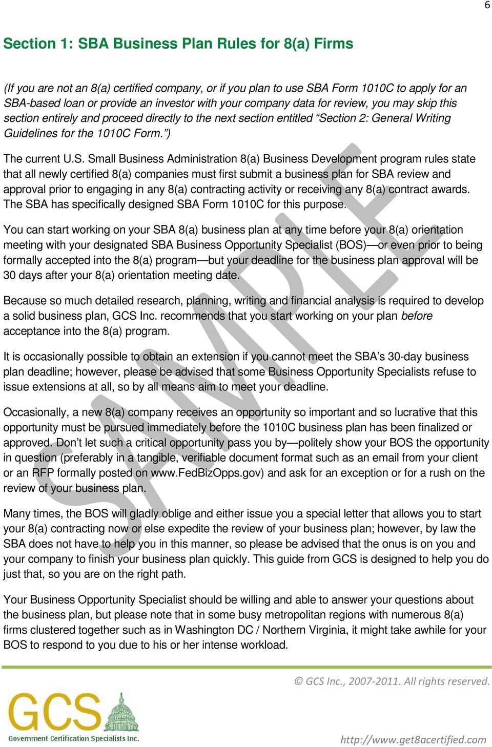 BUSINESS PLAN SBA STATEMENT ON REPRESENTATIVES AND