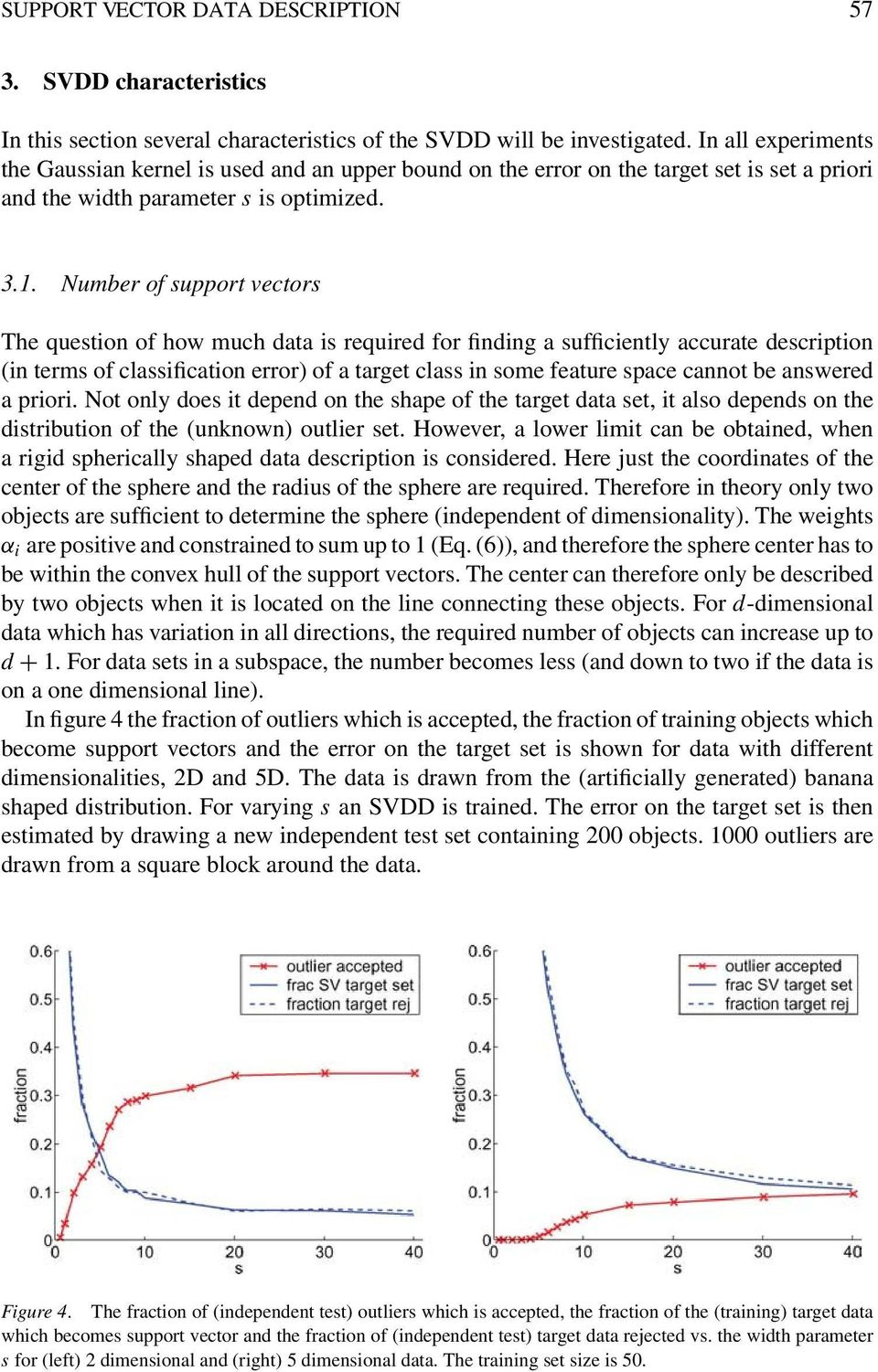 Number of support vectors The question of how much data is required for finding a sufficiently accurate description (in terms of classification error) of a target class in some feature space cannot