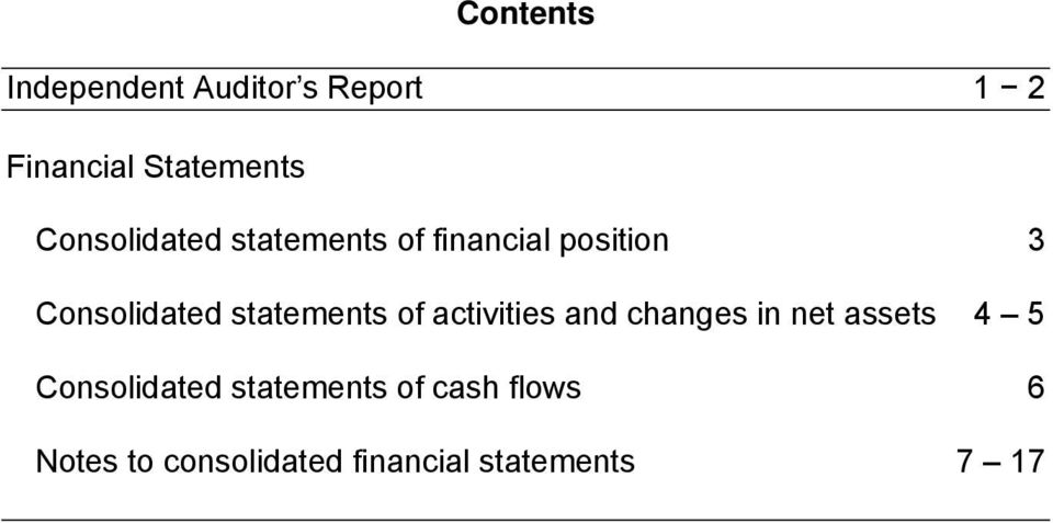 statements of activities and changes in net assets 4 5