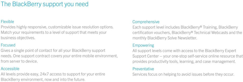 Accessible All levels provide easy, 24x7 access to support for your entire BlackBerry environment, now and into the future.