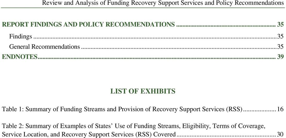 .. 39 LIST OF EXHIBITS Table 1: Summary of Funding Streams and Provision of Recovery Support Services (RSS).