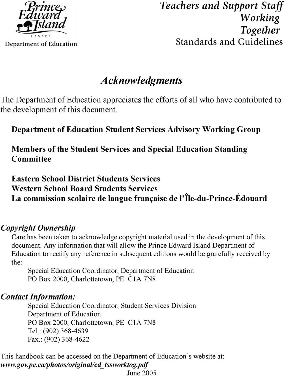 Department of Education Student Services Advisory Working Group Members of the Student Services and Special Education Standing Committee Eastern School District Students Services Western School Board