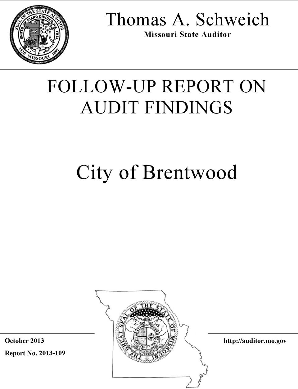 FOLLOW-UP REPORT ON AUDIT FINDINGS