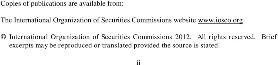 org International Organization of Securities Commissions 2012.