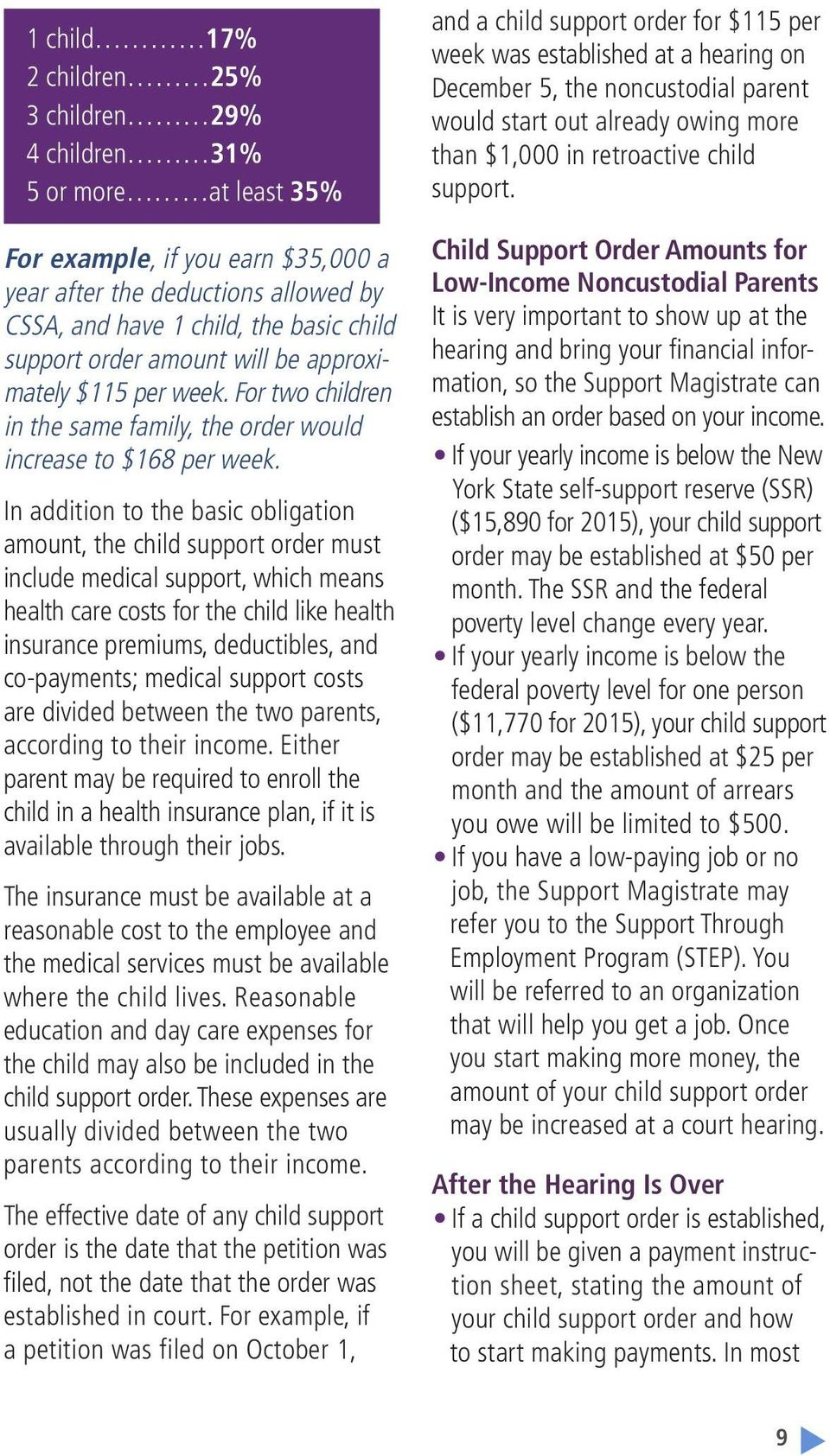 In addition to the basic obligation amount, the child support order must include medical support, which means health care costs for the child like health insurance premiums, deductibles, and