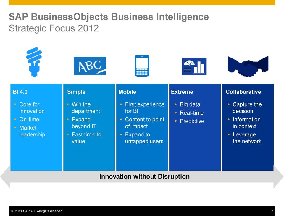 beyond IT Fast time-tovalue First experience for BI Content to point of impact Expand to untapped users Big