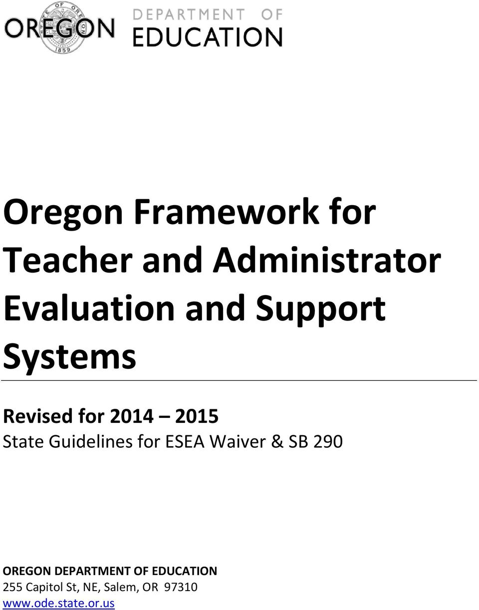 State Guidelines for ESEA Waiver & SB 290 OREGON