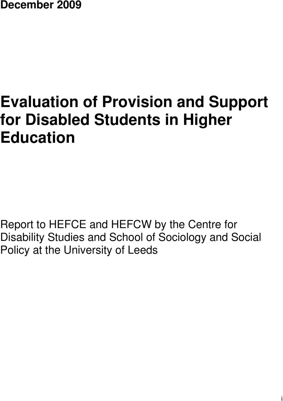 and HEFCW by the Centre for Disability Studies and