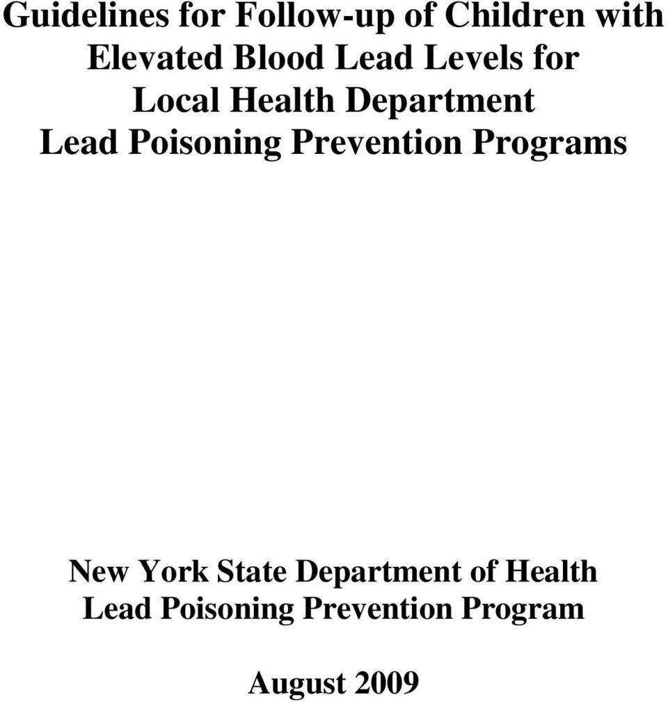 Poisoning Prevention Programs New York State