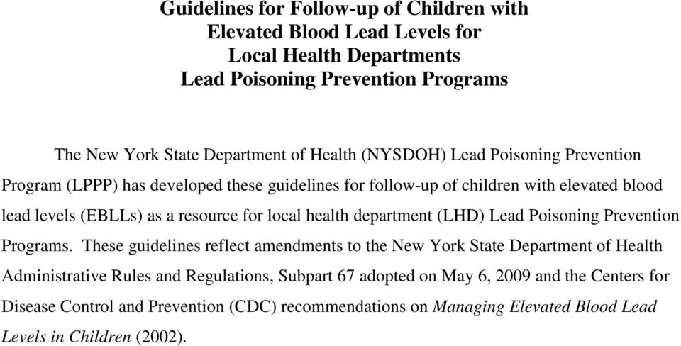 local health department (LHD) Lead Poisoning Prevention Programs.