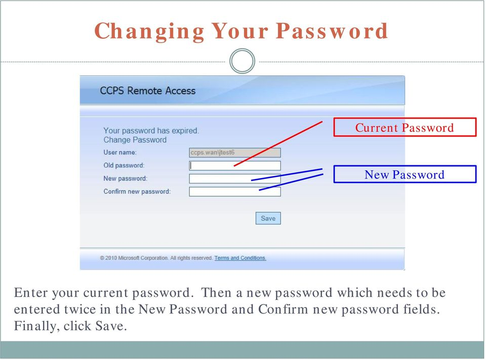 Then a new password which needs to be entered twice