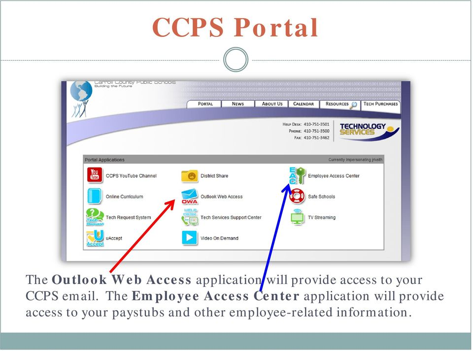 The Employee Access Center application will