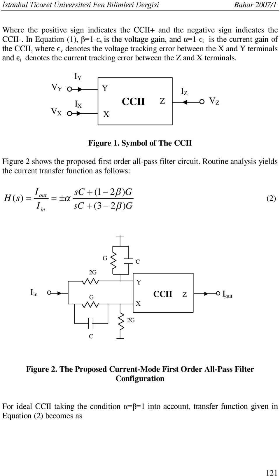New Second Generation Current Conveyor Based Mode First Low Pass Filter Circuit Diagram Basiccircuit Error Between The And Terminals V I Ccii Figure Symbol Of
