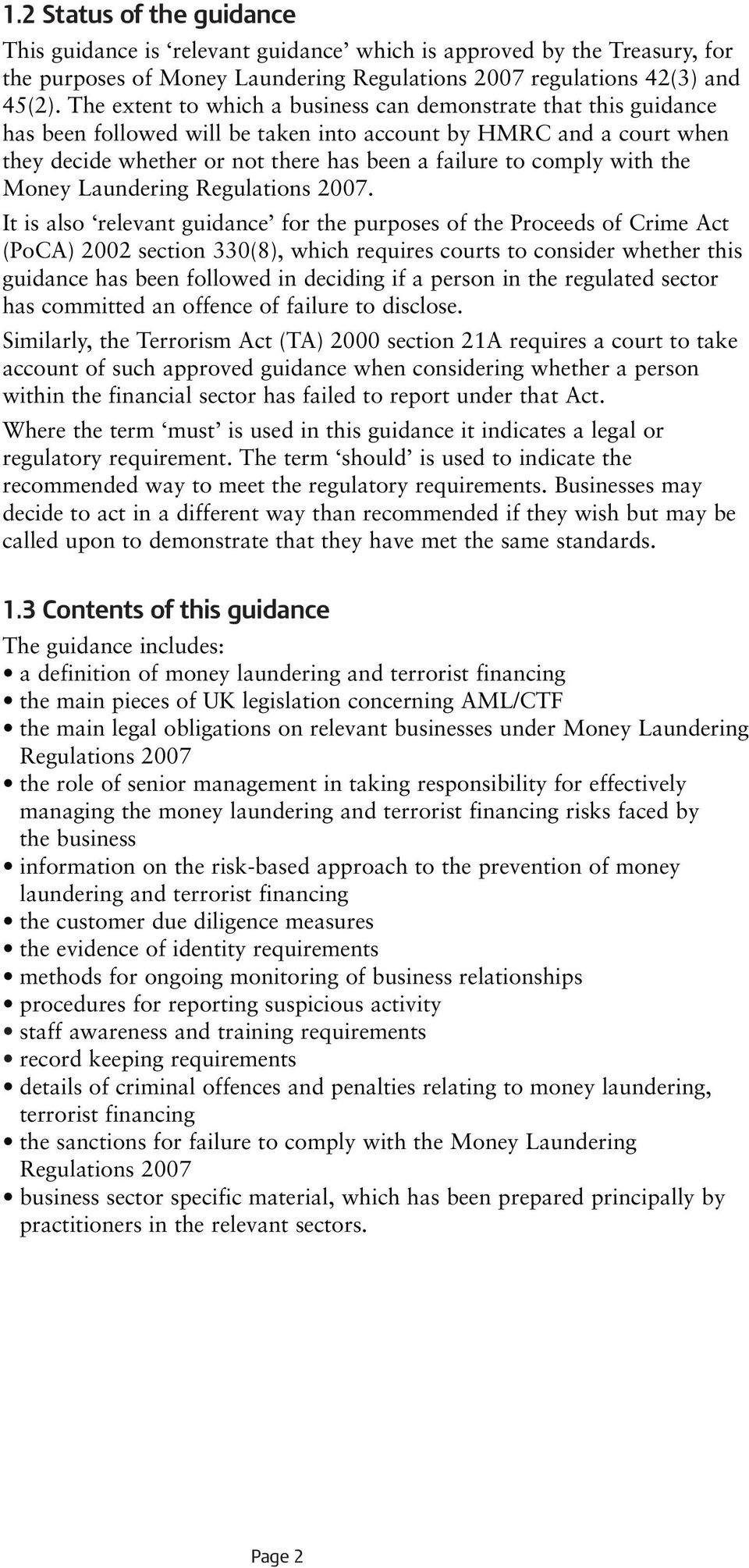 with the Money Laundering Regulations 2007.