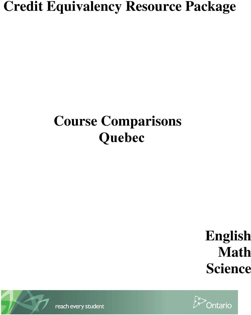 Course Comparisons