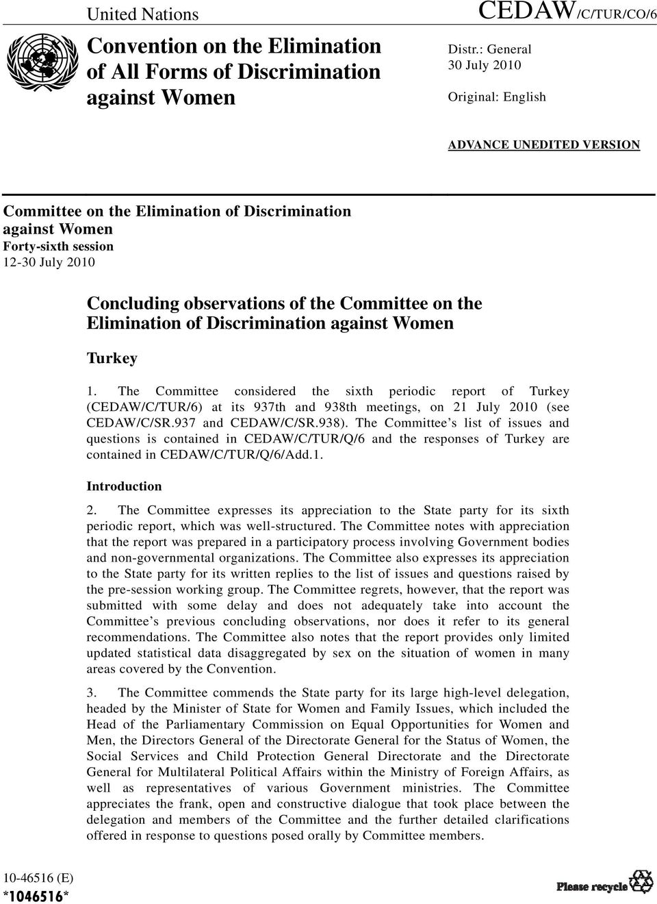 Committee on the Elimination of Discrimination against Women Turkey 1.