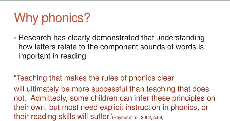 important in reading Teaching that makes the rules of phonics clear will ultimately be more successful than