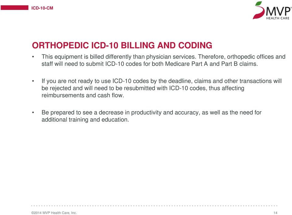 If you are not ready to use ICD-10 codes by the deadline, claims and other transactions will be rejected and will need to be resubmitted