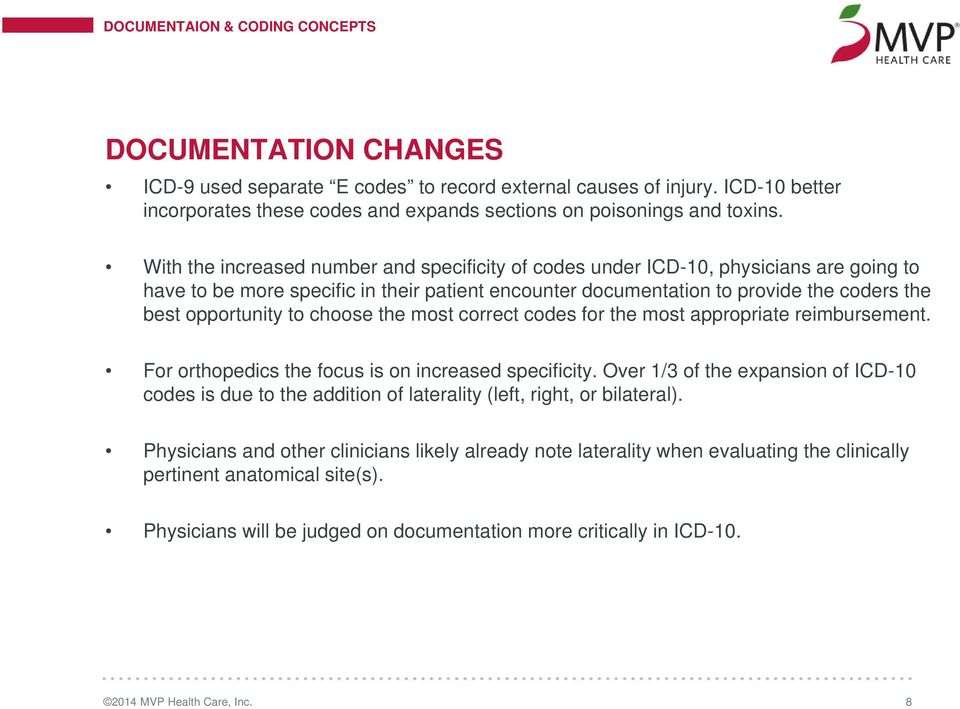 With the increased number and specificity of codes under ICD-10, physicians are going to have to be more specific in their patient encounter documentation to provide the coders the best opportunity