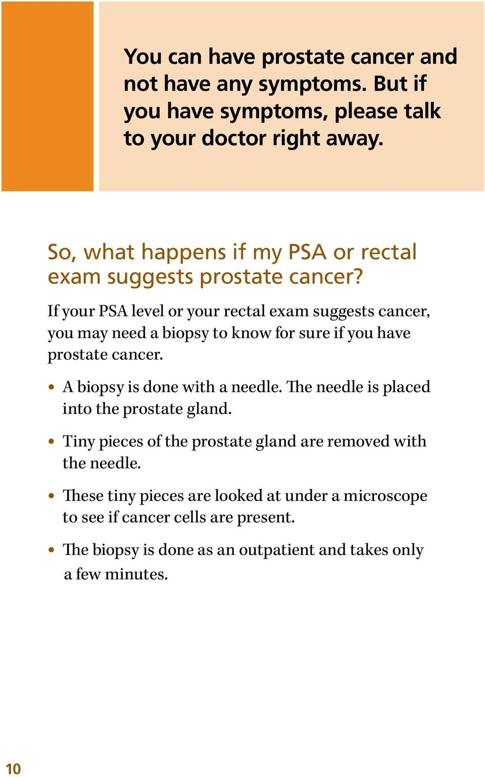 If your PSA level or your rectal exam suggests cancer, you may need a biopsy to know for sure if you have prostate cancer.