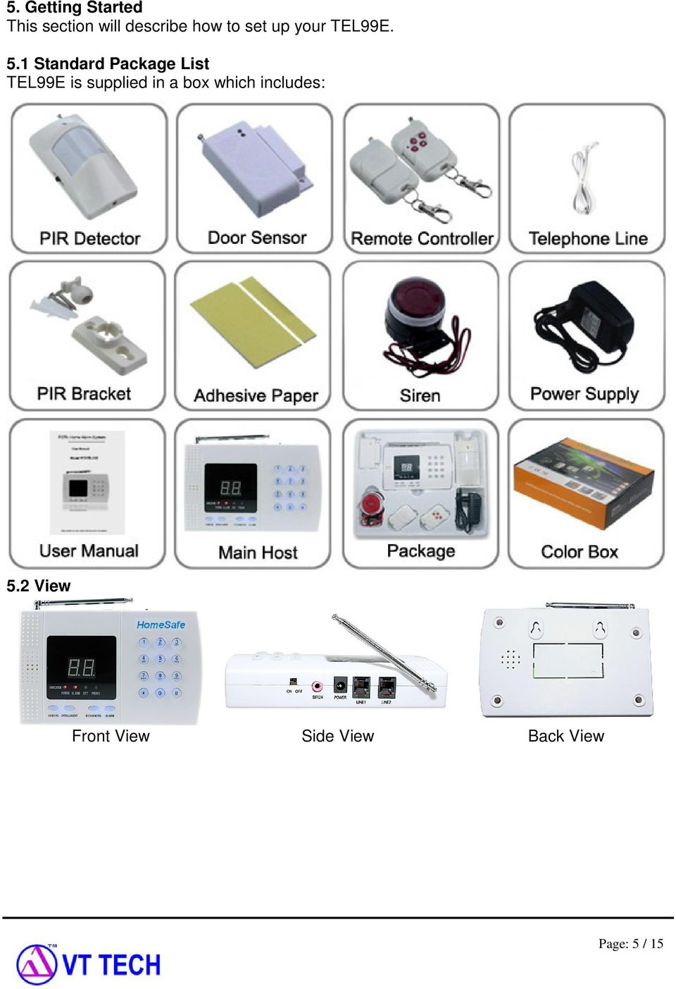 1 Standard Package List TEL99E is supplied in a