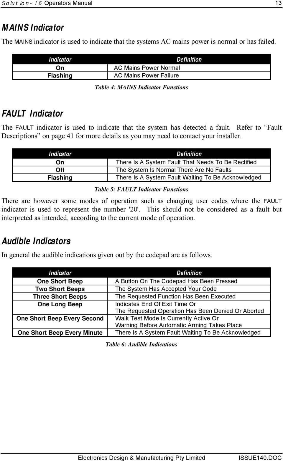 fault. Refer to Fault Descriptions on page 41 for more details as you may need to contact your installer.