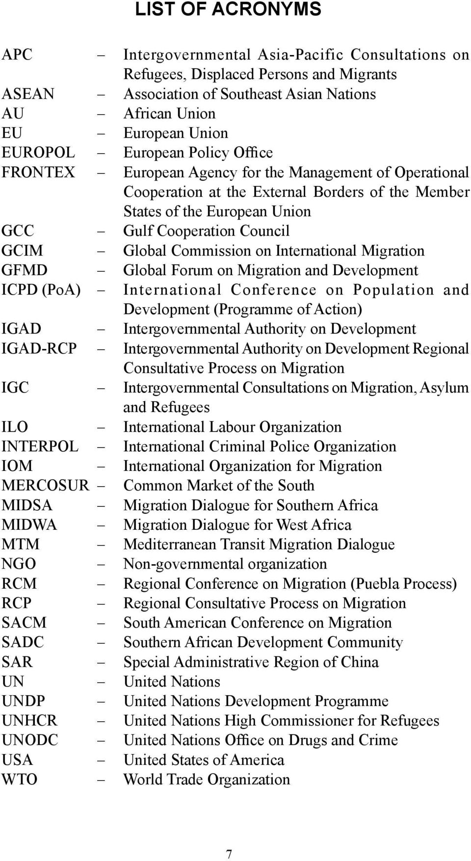 Global Commission on International Migration GFMD Global Forum on Migration and Development ICPD (PoA) International Conference on Population and Development (Programme of Action) IGAD